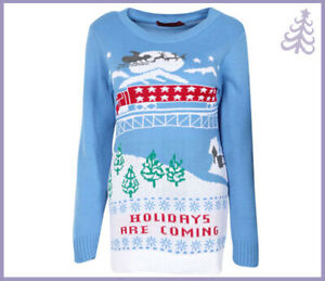 """Novelty Festive """"HOLIDAYS ARE COMING"""" Christmas Jumper"""