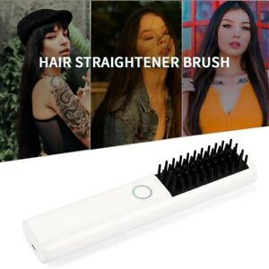 Rechargeable Cordless Hair Straightener Brush Heating Straightening Hair Comb