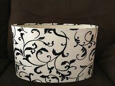 Oval Lamp Shade Drum Ivory with Black velvet flocking, recessed spider