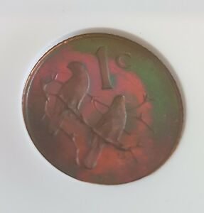 South Africa 1985 1 Cent NGC PF 66 RB Graded Coin Superb Rainbow Toning
