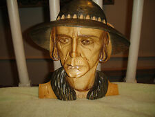 Unusual Wood Carving Of Man With Hat-Realistic Facial Expression-Folk Art-Amish?