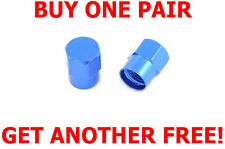 ANODISED BLUE ALLOY BIKE CYCLE DUST / VALVE CAPS AIR TIGHT SEAL GET 1 FREE