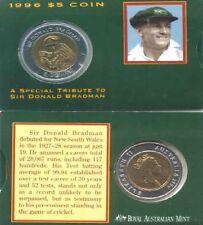Australian 1996 Mint Bradman $5 Bi-metal Coin + Presentation Card & Sleave Issue