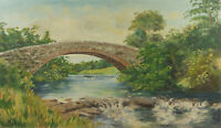 N.Perry - Mid 20th Century Oil, River Landscape with Bridge