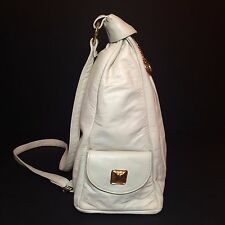 White & Gold Faux Leather Purse / Bag - NEW