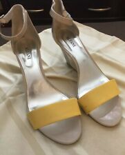 Alfani Women's wedge sandals nude w/ Yellow Canary accent 8 M