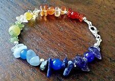 Handmade Seven Chakra Rainbow Gemstone Crystal Energy Healing Bracelet Reiki