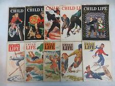 Vintage Lot of 10 CHILD LIFE Magazines 1940-1942 Rand McNally Publications