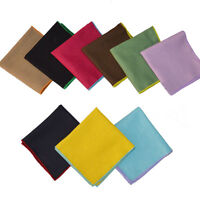 Men Solid Candy Color Pocket Square Linen Cotton Handkerchief Wedding Hanky