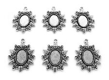 Cameo Diy craft Pendant Earrings Settings 6 Ant. Silvertone Clarissa 18mm x 13mm