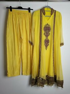 Ladies Indian Style Dress Frock Anarkali Yellow Georgette Size Large UK 14