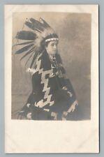 White Boy in Indian Head Dress—Navajo Blanket RPPC Native American Studio Photo