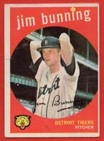 1959 Topps #149 Jim Bunning LOW GRADE TEAR HOF Detroit Tigers FREE SHIPPING