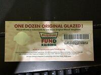 5 One Dozen Krispy Kreme original Glazed doughnuts Fundraiser certificates