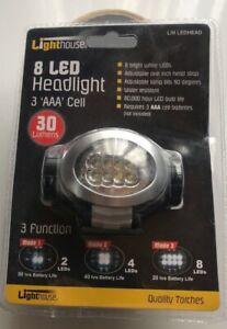LED Headtorch 30 lumen 3 settings 8 LED 80 hrs battery life