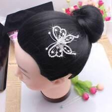 1pc Tiara Hair Jewelry Butterfly Crystal Pin Comb Clip Silver Wedding Headwear