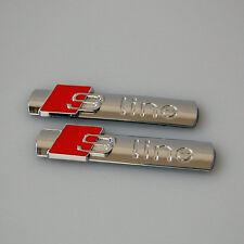 2x AUDI S-LINE METALLO CROMATO BADGE LATERALE POSTERIORE BOOT EMBLEMA S linea a 1 2 3 4 5 6 8 Q