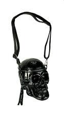 Glossy Black Skull Shaped Gothic Crossbody Bag Small