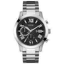 GUESS- ATLAS Men's Stainless Steel & Black Dial Watch W0668G3
