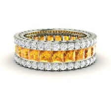 5.56 Ct Real Citrine Eternity Engagement Band Platinum Diamond Ring Size 6 7 8