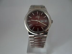 Omega Geneve Red Sunburst Dial Day/Date Automatic Cal 1022 Ref 166.0174 Vintage