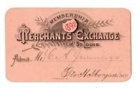 1892 ST LOUIS MISSOURI*MO*MERCHANTS EXCHANGE MEMBERSHIP CARD*JENNINGS*MORGAN
