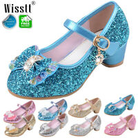 Children Kids Girls Cosplay Sandals High Heels Dance Princess Party Pearl Shoes