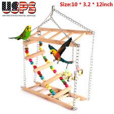 Parrot Hanging Ladder Wooden Step Climb Bridge Bird Swing Pet Activity Chew Toy
