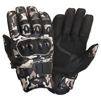 Short Leather Knuckle Protection Motorbike Motorcycle Gloves Camo