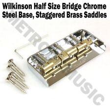 Wilkinson Chrome Half Size Bridge Steel Base Brass Saddles Tele Short WTBS