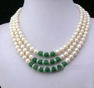 3Rows 7-8MM Real White Akoya Cultured Pearl & Green Jade Pendants necklace