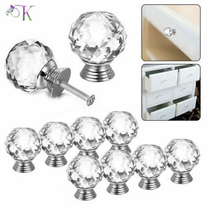 Crystal Diamond Door Knobs Transparent Glass Clear Cabinet Drawer Handle UK