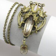 Vtg 1920s Art Nouveau Deco Glass Champagne Glass Pendant Necklace