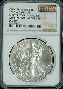 2007-W to 2016-W SILVER EAGLE NGC MS-69 ANNUAL $1 SET 7-COINS MAC SPOTLESS .