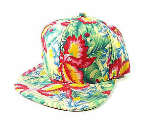 FADED HAWAIIAN PRINT SNAPBACK HAT CAP FLAT BILL FLORAL HAWAII FLOWER TROPICAL