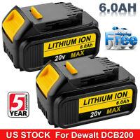 2Pack For DeWALT DCB200-2 DCB205 20V MAX Lithium Ion Cordless Tool Battery 6.0AH