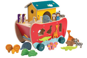 New Tender Leaf Noah's Ark Shape Sorter Wooden Wood Animals Toy Noahs Tenderleaf