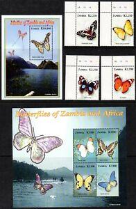 Zambia 2005 Butterflies Full Set Fine U/M MNH SG958/MS963