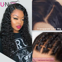 UNice Transparent Lace Front Curly Human Hair Wigs Indian Curly Wig For Women 8A