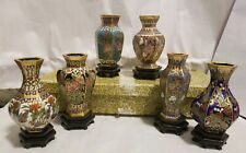 """Boxed Set of 6 Cloisonne Vases Birds & Flowers (3 3/8"""" tall)"""