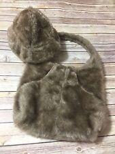 Vtg Betmar Vegan Faux Fur Matching Handbag and Bucket Cloche Hat Brown Women