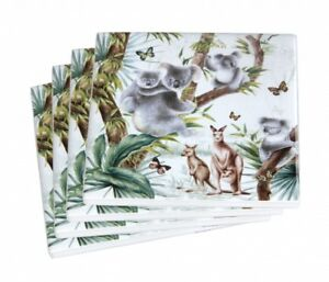 New 4pc Australian Wildlife Coaster Set Drink Coasters Ceremic Chinaware Koala