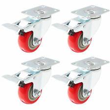 "4 Pack 3"" Caster Wheels Swivel Plate Total Lock Brake Red Polyurethane PU"