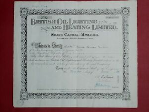 share certificate 1929 British Oil Lighting & Heating Ltd #2532
