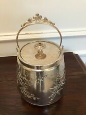 ANTIQUE VINTAGE ENGRAVED SILVER TOBACCO TEA COFFEE BISCUIT BARREL WITH HANDLE