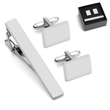 Stainless Steel Ties Necktie Clasp Pin Clip Bar Cufflinks Cuff Link Set Kit Lot