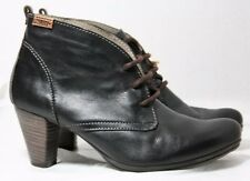 PIKOLINOS SHOES BLACK & BROWN LEATHER LACE UP BOOTIES OXFORD HEELS 8