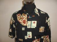 vintage italy TIPO`S Hemd crazy pattern gemustert 90`s shirt schwarz Viskose XL