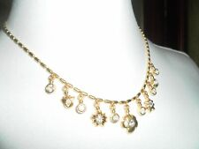 MONET Vintage Gold Tone Crystal Faux Stone Multi Drop Necklace **NEW**