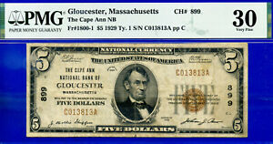 TOP POP CH# 899 - 1929 $5 ((Finest -The Cape Ann NB of Gloucester, MS )) PMG 30-